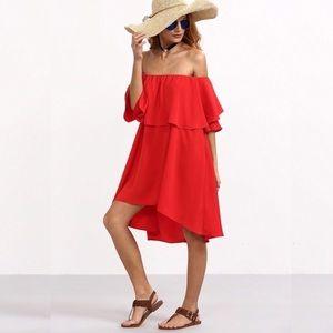 Dresses & Skirts - Off Shoulder Ruffled Overlay Loose Slip Dress Red
